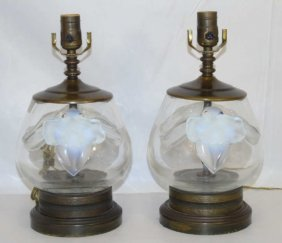 Pair Custom Made Lalique Orchid Vase Mount Lamps