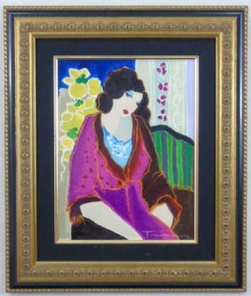 Tarkay Signed & Numbered Framed Print On Canvas