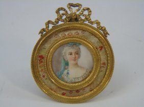 Antique Framed French Watercolor Miniature Of Lady