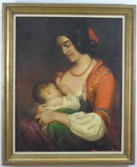 Szegvary, Karoly, Hungarian Oil Painting Mother & Child