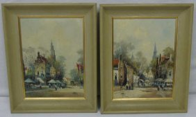 Pair Oil Paintings Of Holland Signed Roberts