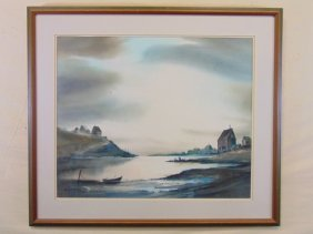 James Camlin Vintage Watercolor Coastal Lanscape