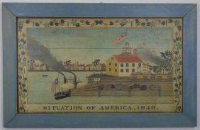 Vintage Folk Art Print - 1848 Situation Of America