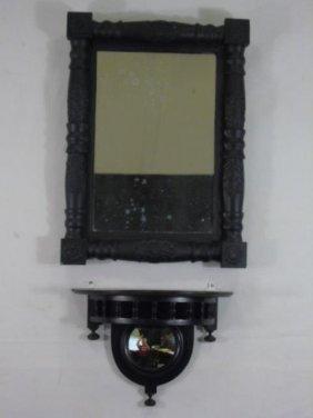 Antique American Empire Mirror & Wall Shelf