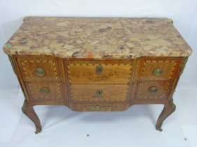 Marble Top Inlaid Wood Italian Chest Of Drawers