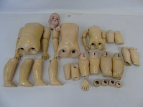 Antique German Doll Bodies & Bisque Head