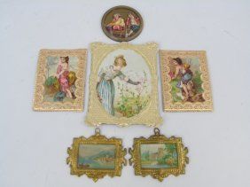 Antique Dollhouse Ormolu & Dresden Picture Frames