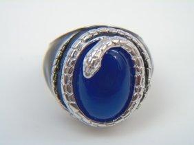 Sterling Silver & Enamel Ring W Blue Stone & Snake