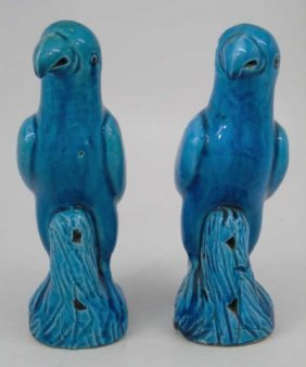 Pair Chinese 19th Century Teal Glazed Parrots