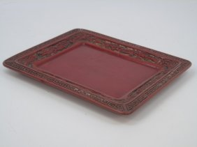 Chinese Carved & Lacquered Cinnabar Style Tray