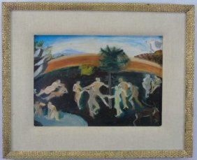 Contemporary Painting Oil On Board Dancing Figures