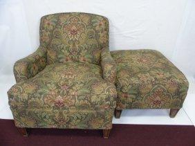 Contemporary Traditional Armchair & Ottoman