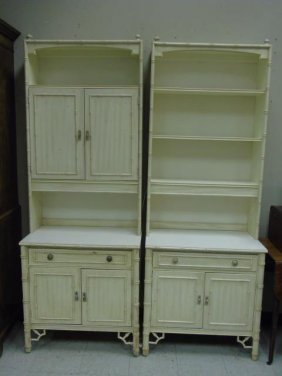 Thomasville Faux Bamboo Two Piece Open Bookcases