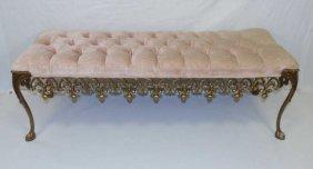 Vintage Gilt Metal Tufted Velvet Upholstery Bench