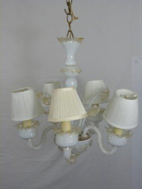 Murano Italian Glass Chandelier In Cream & White