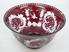 Large Antique Ruby Bohemian Glass Center Bowl