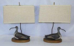 Pair Handmade Duck Decoy Mount Table Lamps