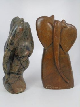 Two Hand Carved African Stone Statues Of Elephants