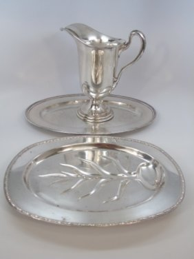 3 Silver Plate Items Sheffield Pitcher & Platters