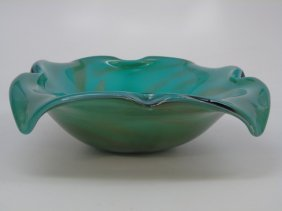 Vintage Green Art Glass Murano Style Bowl