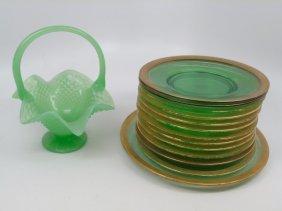 Antique Dessert Set Green & Gold Vaseline Glass