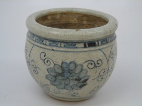 Chinese Blue & White Crackle Porcelain Pot