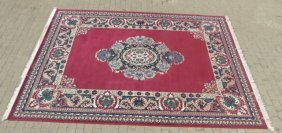 Deep Red Oriental Area Rug W/ Blues & Greens