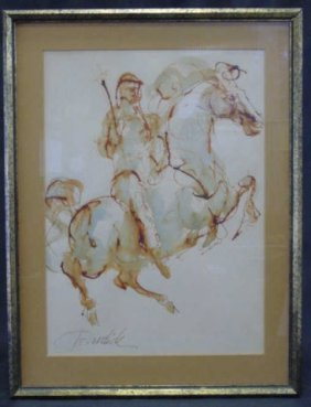 Scott Burdick - Water Color Of A Man On Horseback