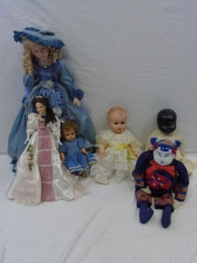 Lot Of 6 Vintage Dolls Porcelain Head Chinese Baby