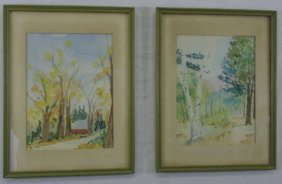 Hope Oliver - Pair Of Framed Watercolor Paintings