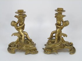 Pair Antique 19th Cent. Bronze Gilt Candle Holders