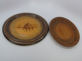 Two Antique Carved Wood Plates Russian & American