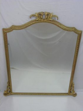 Antique Oversized Gilt Wood Framed Mirror Acanthus