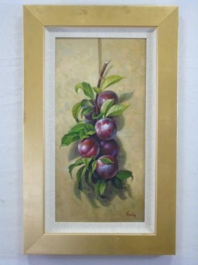 Still Life With Plums Signed Garfag