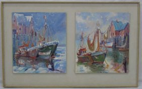 Framed Mounted Pair Of Paintings Fishing Boats