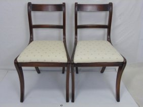 Pair Of American Empire Style Carved Wood Chairs
