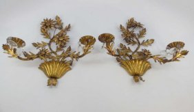 Pair Of Vintage Gilt Metal Flower Wall Sconces