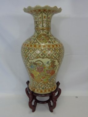 Vintage Chinese Painted Porcelain Vase On Stand