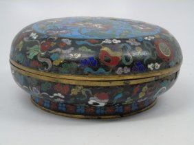 Large 18th Century Chinese Cloisonne Box W/ Lid