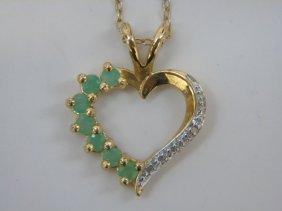 Vermeil Diamond& Emerald Heart Necklace