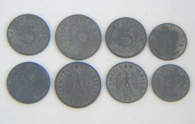8 Wwii Era German Coins
