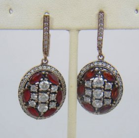 Pair Sterling Silver Earrings W/ Red & White Cz