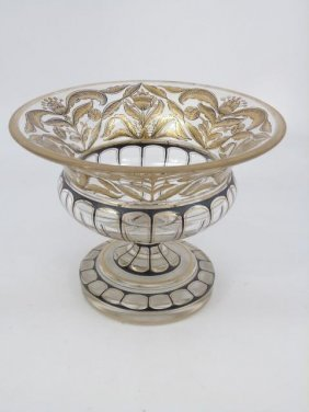 Antique Bohemian Glass Compote