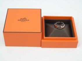 Hermes 18kt White Gold Ring In Original Box