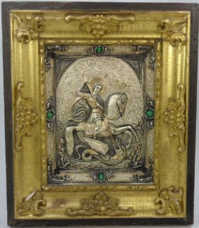 19th C Russian Silver St. George Framed Icon