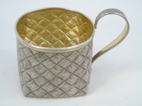 Antique Imperial Russian Trompe L'oeil Silver Cup