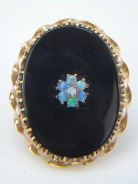 Antique Victorian Gold Onyx & Opal Mourning Brooch