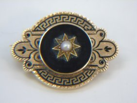 Antique 19th C Victorian Gold Onyx & Pearl Pendant