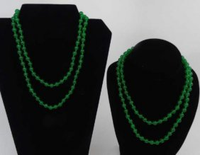 Two Chinese Carved Green Jade Beaded Necklaces