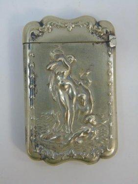 Antique Victorian Silver Birth Of Venus Match Case